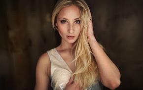 blonde, portrait, face, girl