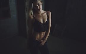 girl, pierced navel, bra, flat belly, blonde
