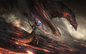lava, magic, fantasy art, dragon