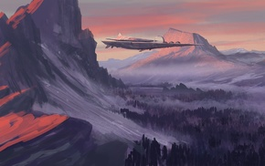 spaceship, futuristic, artwork, mountain, landscape, nature
