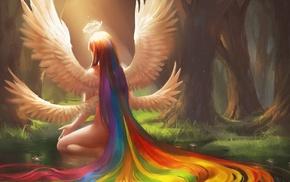 fantasy art, angel, forest, rainbows