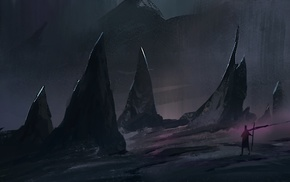 fantasy art, rock, landscape, dark, digital art, artwork