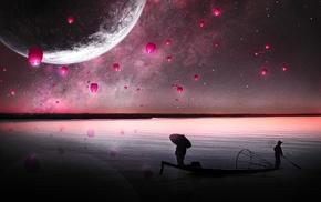 purple, planet, science fiction, fantasy art