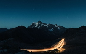long exposure, landscape, silhouette, hill, road, stars