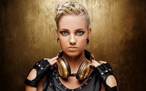 blue eyes, blonde, headphones, mittens, earrings, girl