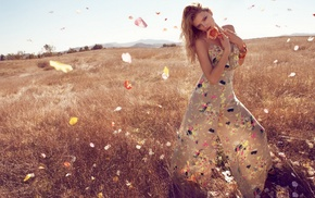 Lily Donaldson, girl outdoors, looking at viewer, bangles, dress, necklace