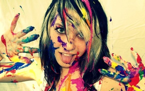 girl, paint splatter, tongues