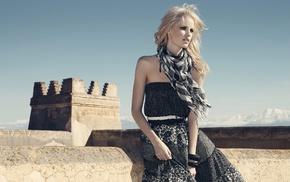 bangles, black dress, blonde, scarf, dress, girl