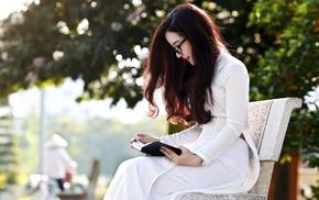 model, reading, Asian, girl, glasses, bench
