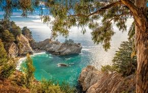 nature, California, rock, landscape, beach, trees
