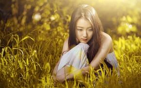 dark hair, long hair, grass, looking down, girl, dress