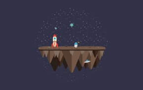 space, flag, Rocket, vectors, floating island, astronaut