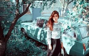 vehicle, girl, car, model