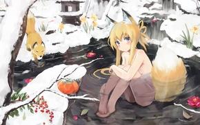 original characters, fox, fox girl, anime girls, water, anime