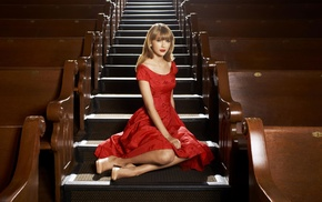 girl, stairs, Taylor Swift, celebrity, singer, dress