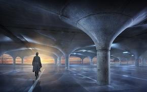 architecture, landscape, empty, urban, parking lot, sunset