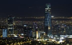 cityscape, architecture, metropolis, landscape, Santiago de Chile, night
