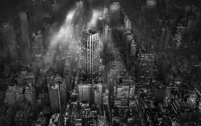 New York City, monochrome, architecture, metropolis, building, lights