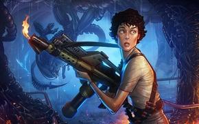 aliens, Ellen Ripley, artwork, Xenomorph