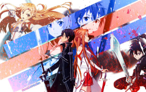 anime girls, Yuuki Asuna, Sword Art Online, Kirigaya Kazuto