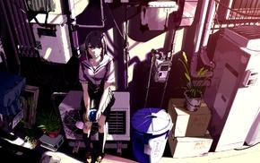 anime girls, school uniform, original characters