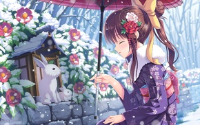 original characters, snow, rabbits, Japanese umbrella, flowers, anime girls
