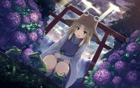 flowers, Moriya Suwako, anime girls, Touhou, frog
