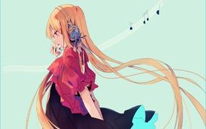 headphones, blonde, music, original characters, anime girls