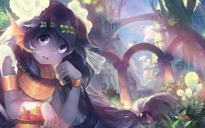 anime girls, plants, braids, original characters
