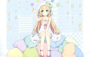 anime girls, pillows, dress, original characters, blonde