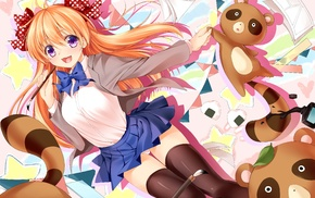 school uniform, anime girls, Gekkan Shoujo Nozaki, kun, thigh, highs