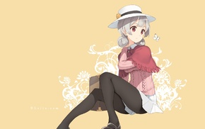 hat, anime girls, pantyhose, original characters, butterfly