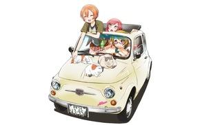Love Live, Koizumi Hanayo, cat, car, Hoshizora Rin, Nishikino Maki