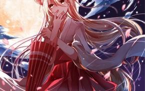 original characters, moon, miko, Japanese umbrella, anime girls