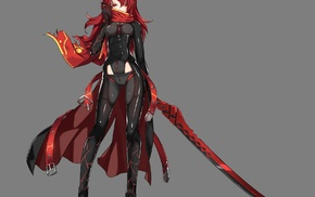 Elesis elsword, Elsword, sword, anime girls, redhead, scarf