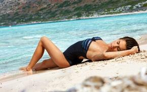 brunette, sea, sand, arms up, swimwear, girl