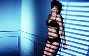 panties, against wall, black bras, shadow, girl indoors, Natalia Belova
