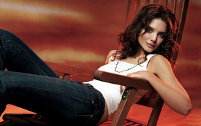 girl, Katie Holmes, looking at viewer, blue eyes, white tops, jeans