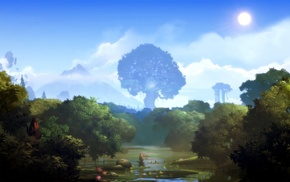 landscape, Ori and the Blind Forest, forest, lights, nature, trees