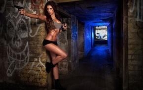 gun, sports bra, boots, graffiti, scratches, model