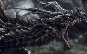 The Elder Scrolls V Skyrim, dragon, Alduin, The Elder Scrolls, fantasy art, digital art