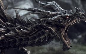 The Elder Scrolls V Skyrim, dragon, Alduin, The Elder Scrolls, fantasy art, digital art