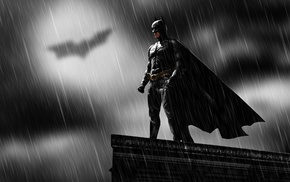 superhero, Batman, movies, rain, dark, DC Comics