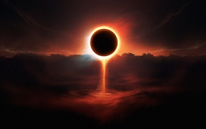 planet, fantasy art, space art, eclipse, space