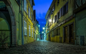 lights, street, city, urban, evening, Strasbourg
