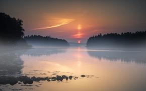 mist, water, trees, lake, sunset, sky