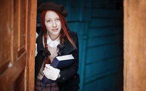 girl, smiling, ponytail, blue eyes, portrait, redhead