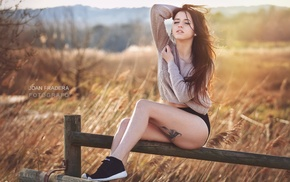 sitting, tattoo, girl outdoors, hands in hair, girl, closed eyes