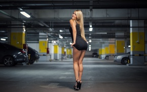 smiling, black dress, high heels, black heels, parking lot, girl