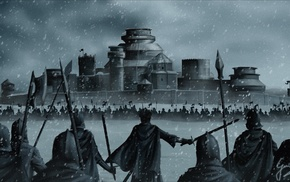 army, Winterfell, fan art, snow, war, artwork